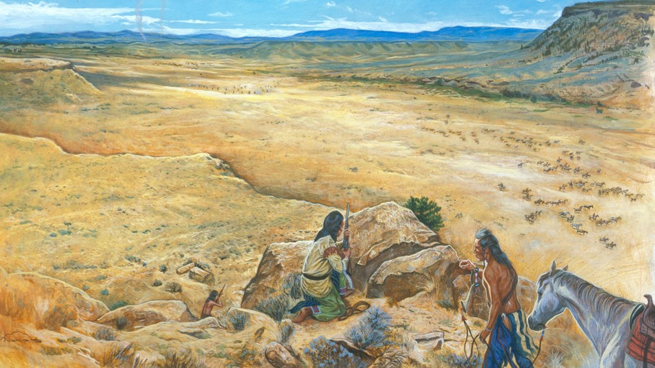 A painting that depicts two Nez Perce on top of a canyon looking down at the soldiers below.