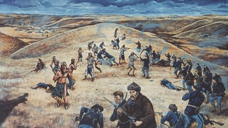 Painting depicting soldiers and Nez Perce warriors in battle.