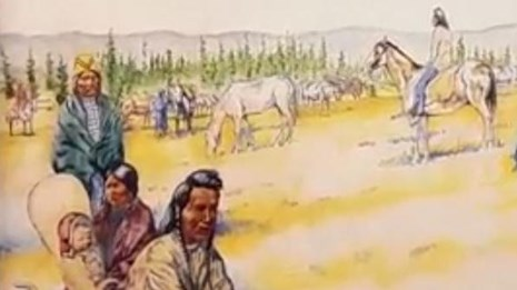Painting of Nez Perce families in Yellowstone.
