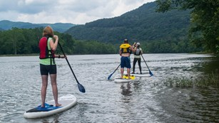 Stand up paddle boarders on the river
