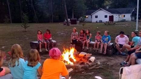 kids playing tug of war at Camp Brookside