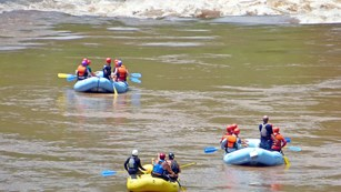 rafters approach whitewater