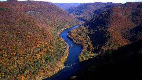 gorge and river with fall colors