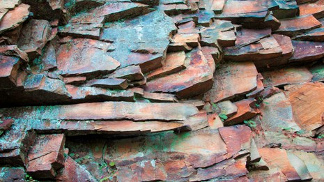 close up of rock layers