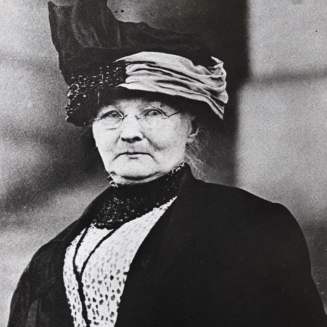 black and white photo of an older woman