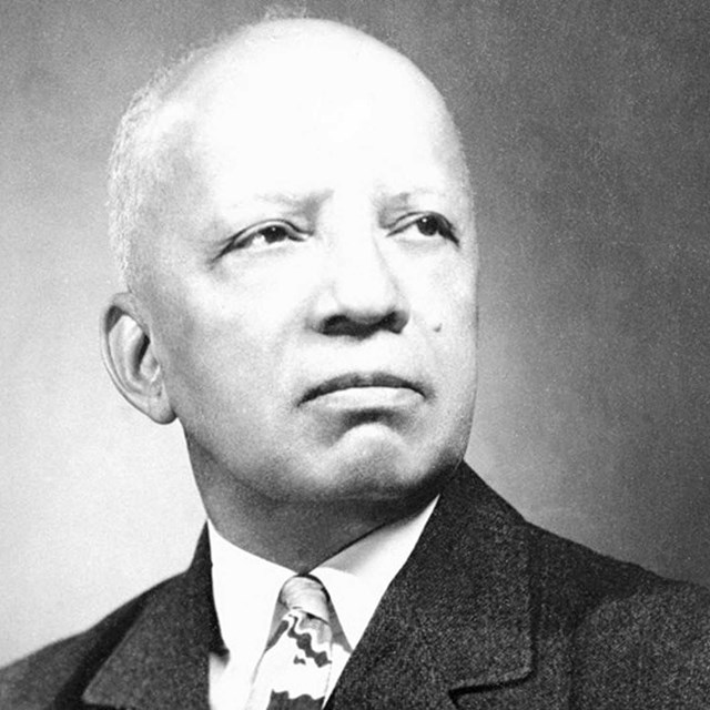 black and white photo of Carter G. Woodson