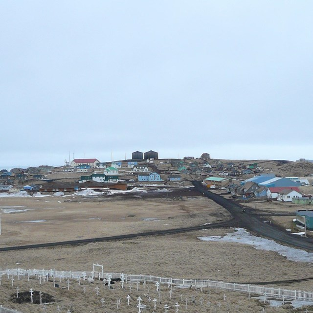 A photo of an Orthodox cemetery with white crosses and St. George Village, Alaska, on the horizon
