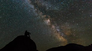 A man in silhouette against a starry night sits on a rock and contemplates the Milky Way.
