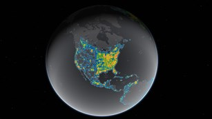 Bright areas on this map show sky glow from artificial light scattering into the atmosphere.