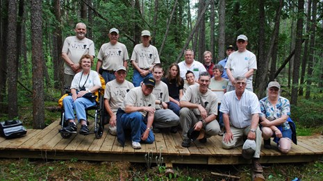 Volunteers along the trail in Michigan