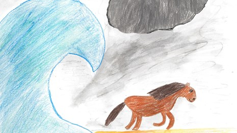 Kid's drawing of a horse on a beach running away from a big wave in a rainstorm