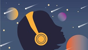 Illustration of a person wearing headphones while watching a meteor shower