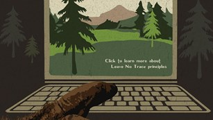 Illustration of a Sasquatch hand on a laptop looking at national park information