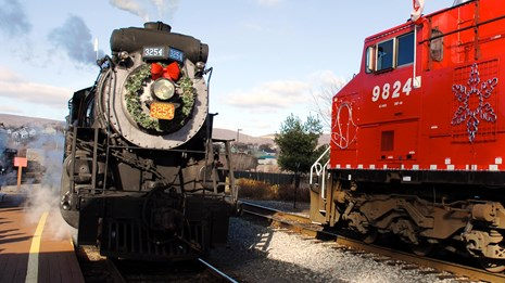 Train decorated with a holiday wreath