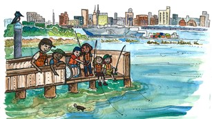 Cartoon of kids fishing on a pier