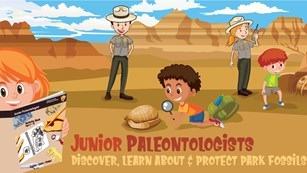 Illustration of kids and rangers looking at fossils in a desert or a Junior Ranger book