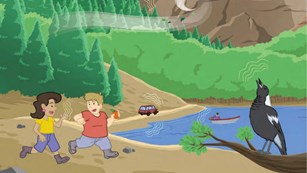 Illustration of kids running in nature near a pond with animals making noises