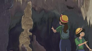 Illustration of two kids exploring a cave