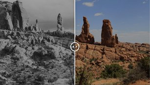 Black and white photo of geologic desert features compared with a modern photo