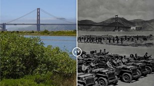 Color photograph of the Golden Gate Bridge area compared with a historical image