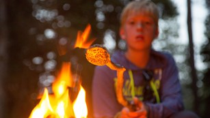 Kid roasting a marshmallow over a fire