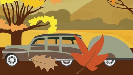 Poster of an old-fashioned car driving past fall foliage with text reading