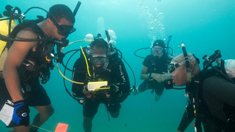 Several scuba divers communicating underwater