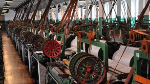 Room of weaving looms