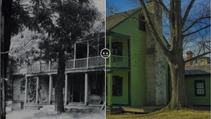 Meshed images of a historic black and white photo and a modern color photo of a green house