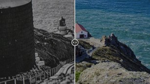 Two meshed images of a historic lighthouse on a cliff by an ocean in the past and today