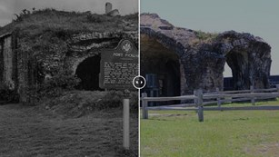 Two meshed photos of the ruins of a brick fort in the past and today