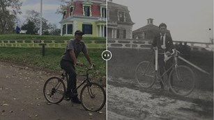 Meshed images of a park ranger riding a bike in front of a house next to a historic version