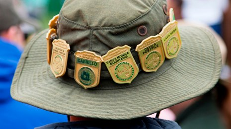 Back of a kid's hat lined with Junior Ranger badges