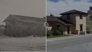 Two meshed photos of a ranch house in the past and today