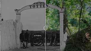 Two meshed images of a fort gate during the Civil War and today