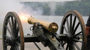 19th-century cannon firing