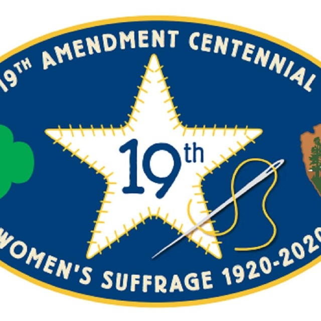 Illustration of the Girl Scouts Ranger 19th Amendment patch