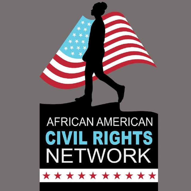 Logo for the African American Civil Rights Network that includes the silhouette of a girl on a flag
