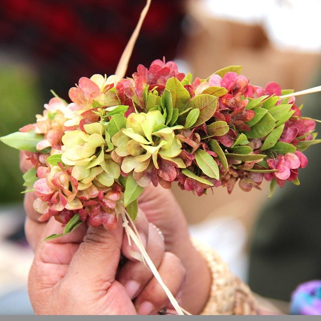 hand holding a traditional lei wili with green and pink flowers