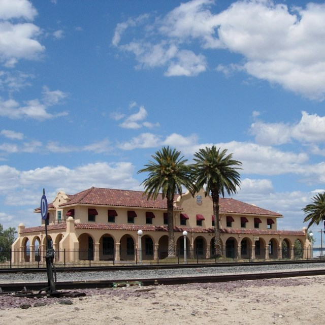 A historic train depot in the middle of the desert.