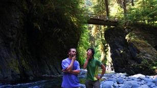 Two visitors ponder route on a Quinault rain forest trail.
