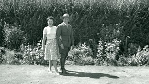 Ranger Crisler in uniform with woman on his arm.