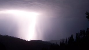 Lightening striking above the trees at Oregon Caves.