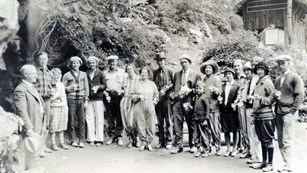 Historic tour group preparing to enter the cave.