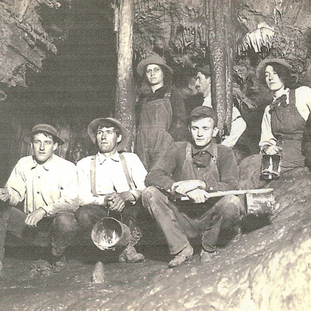 Morrison family members in Miller's Chapel room of the cave.