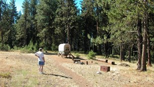 grassy area with dirt road, an emigrant wagon, and a woman