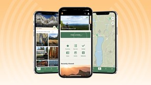 Three mobile devices displaying a mobile application about the national parks.