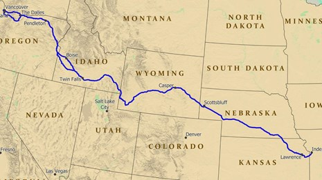 A map of the USA with a trail depicted from the midwest to Oregon.