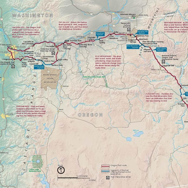 A map depicting a trail that traverses from the midwest to Oregon.