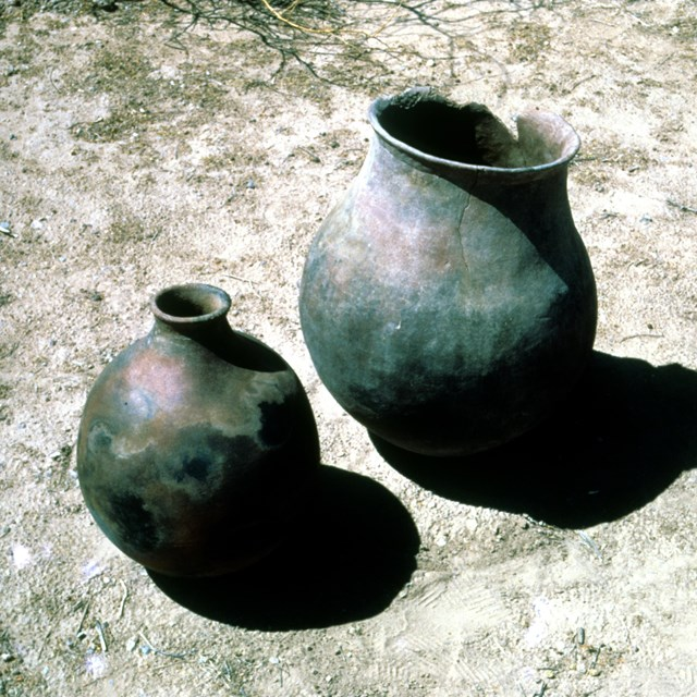 large, spherical olla, or water storage vessel